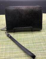 Halogen Black Leather Zip Around Wallet - Women's Wristlet Wallets