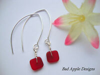 Square Red Frosted SEA GLASS Silver Marquise Dangle Earrings USA Handmade