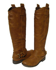 New Women's Stack Heel Knee High Riding Boots Tan winter snow Ladies size 8