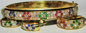 8.00CT NATURAL RUBY SAPPHIRE EMERALD SUITE 18KT RING BANGLE & EARRINGS BEAD SET+