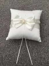 Bridal Wedding Ceremony Ring Bearer Pillow Cushion Satin Bow Pearl Ivory