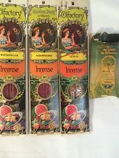 Vintage incense sticks and cones lot of 4 unused Olfactory Corp & Earth Kiss