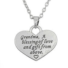 """""""GRANDMA"""" A BLESSING OF LOVE AND A GIFT FROM ABOVE SILVER HEART NECKLACE"""