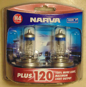 Narva Plus120 Halogen Light Globe PAIR H4 type 55W/60W for AE86 RX7 Holden Ford