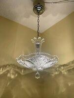 1930-40s Art Deco Glass Bedroom 2 Light Flush Mount Fixture