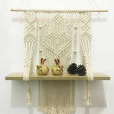 Wall Mount Hanging Shelf Wood shelves Floating Rope Plant Holder Display Decor