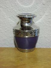 Plated Nickel & Periwinkle Brass Keepsake Token Mini Urn w/Velvet Bag