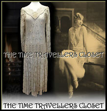 ANN BALON Ivory Italian Lace Vintage 20s Flapper Dress Wedding Bride UK 10 12 14