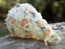 Bridal Teardrop Bouquet in Silk Roses- Peach & Ivory Wedding Flowers- New 2017