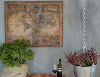 Weltkarte Antik Bild Vintage Style Leinenbild Karte Braun Wandbild Wandschild
