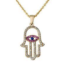 14K Yellow Gold Diamond Judaica Pendant Eye Hamsa - Five Pink Ruby Blue Sapphire