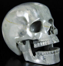 "Grey Marble Realistic Hand Carved Gemstone Crystal Laughing Skull 5"" Inch SK102"