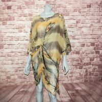 HARARI Women's 100% Silk Sheer Tunic Blouse Tied Knot Front Floral Print Size S