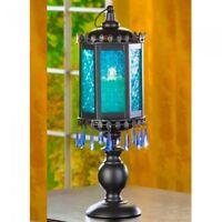"Exotic Candelabra 16.5"" Tall Blue Lantern Candleholder Large Wedding Centerpiece"