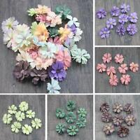 50pcs Daisy Flower Heads Mini Silk Artificial Flowers Wreath Ring Home Decor