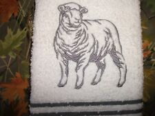 LAMB/SHEEP,  EMBROIDERED, HAND TOWEL, 100% COTTON