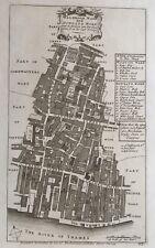 1754 Antique map: Walbrook & Dowgate Wards, London - Stow's Survey