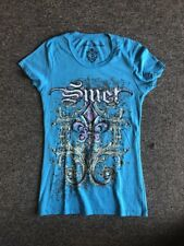 NEW WOMEN'S SHORT SLEEVE SMET CREW neck  TURQUOISE T-SHIRT SIZES:M,L,XL
