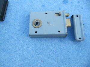 vintage door rim lock with privacy bolt & receiver grey