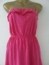 Womens pink COTTON bandeau beach sundress broderie anglaise trim size 10 holiday