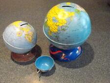 LOT  3 VINTAGE tin litho toys, 2 globe banks 1ohio art 1 chein  & 1 ohio art cup