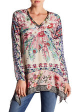 NWT $220 Johnny Was Tribeca V-Neck Floral Silk Printed Blouse Top Long Tunic S M