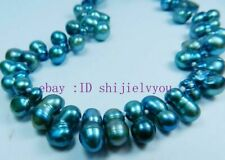 """Odd-shaped Blue Akoya Cultured Pearl Beads Necklace 18"""""""