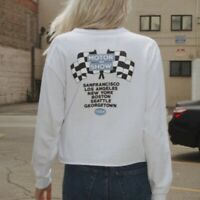 brandy melville white oversize cotton Camila Motor show 1984 top NWT sz S/M