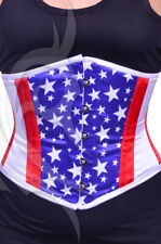 """Flag Print Underbust Steel Boned Extremely Curvy Corset 18"""" to 46"""""""