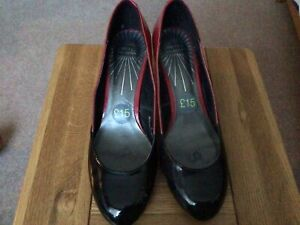 NWT M&S LIMITED RED,BLACK AND GREY PATENT SHOES SIZE 5