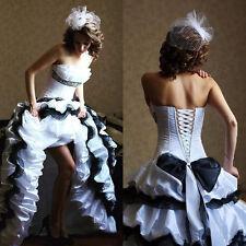 Vintage White and Black Ruffles Wedding Dress Gothic Strapless Bridal Ball Dress