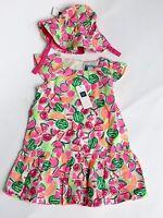 BABY GAP NEW NWT Sz 0-3-6 Mo Girls Melon Print Pink Green DRESS HAT Outfit SET