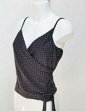 LIQUID sparkly metallic purple black V Strappy stretch fitted vest top Cami 16