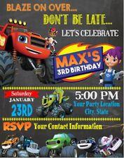 Blaze Monster Machine Trucks Birthday Party Invitations Personalized Custom