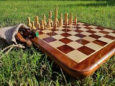 """Indian Handcrafted 16X16"""" Inche Best Professional Flat Chess Game Board Set,"""
