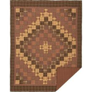 New Primitive Lodge PRESCOTT BROWN PATCHWORK Quilted Blanket Throw