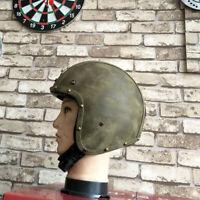 Vintage Motorcycle Helmet Open Face Deluxe Leather Cruiser Street Bike Scooter