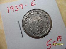 German 50 Reichspfennig 1939-E Scarce Third Reich Nickel Coin WW2 pf