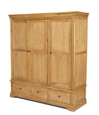 Breton Oak Triple Wardrobe with Drawers Bedoom Solid Wood Furniture