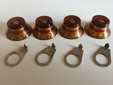 GIBSON 1959 AGED AMBER TOP HAT KNOBS SET NICKEL POINTERS LES PAUL GUITAR RELIC