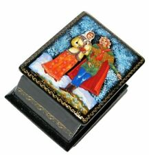 April Palekh Miniature Russian Paper mache Hand Crafted Keepsake Lacquer Box