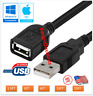 USB 2.0 Extension Extender Cable Cord M/F Standard Type A Male to Female Black