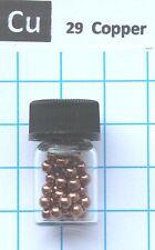 5 gram Copper metal spheres 3mm 99,9% in glass vial element 29 sample