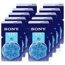 60 x SONY Hearing aid 675 Size batteries Zinc Air PR44 1.4V 0% Mercury 10 Packs