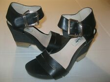 Clarks Narrative Sandals Black Heels Size 7 Open Toe Buckle Ankle Rubber Heels