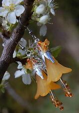 Orange blossom earrings peach flower fairy mori kei summer festival jewellery