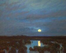 Lrg Full Moon Marsh American Pastoral Oil Painting Landscape Signed Art Original