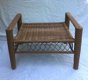 Vintage Wicker Bamboo Rattan Bench Stool - Nice!!