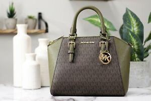 Michael Kors Ciara Saffiano Leather Signature Duffle Medium Satchel Handbag