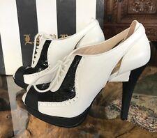 """Gwen Stefani L.A.M.B """"Gianira"""" Black/White Peep-toe Lace up Pump Shoes 6 / 39"""